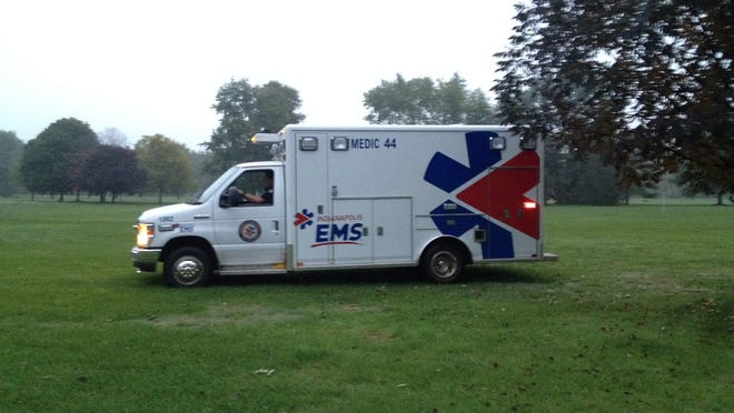 An ambulance that had been stolen from Community Hospital is removed from Maple Creek Golf Course on Tuesday.