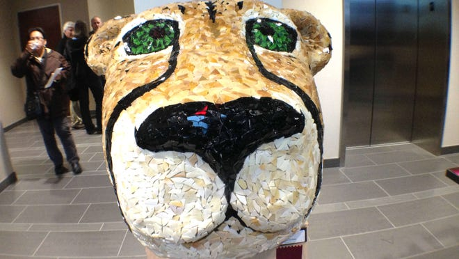 This sculpture of a cheetah's head created by City High senior Kaylee Harney received a Best in Show award Thursday at the Hani Elkadi Art Exhibition in North Liberty.