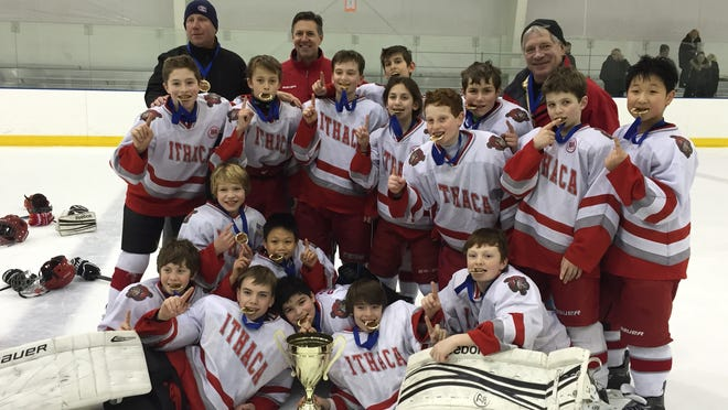Pictured is the IYHA PeeWee travel team, which won the Steel City Shootout on Jan. 17-19 in Bethlehem, Pa. First row: Colden Goodrow, Zach Neely, William Gephart, Morgan Somchanhmavong, Nick Djafari, Aidan Burt and Colin Blakeslee. Second row: Ethan Burt, Richard Prosser, Joe Besemer, Thomas Kopelson, Quinn Howe, AJ Prudence, Ben Infante, Michael Kiely and Dennis Kang. Third row: Coaches Dave Howe, Dave Blakeslee and Wayne Stokes.