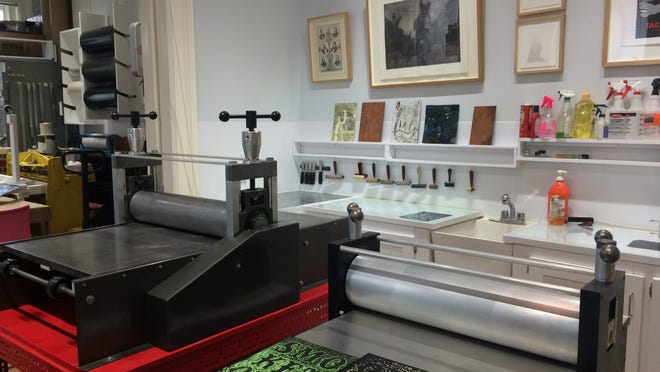 View of the equipment and workspace at Calliope Arts, which has an open house and free woodcut workshop Sunday.