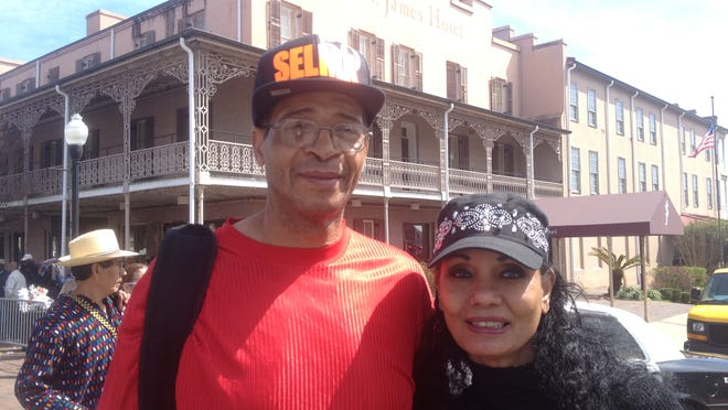 Herman Winters III and his wife Loretta, from Williamstown, N.J. Winters, the great nephew of Amelia Boynton Robinson, made a 14-hour drive to Selma to join his heroic aunt to celebrate the 50th anniversary of Bloody Sunday.