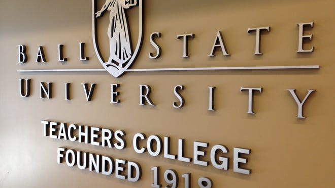 A sign in the lobby welcomes future teachers to Teachers College at Ball State University.