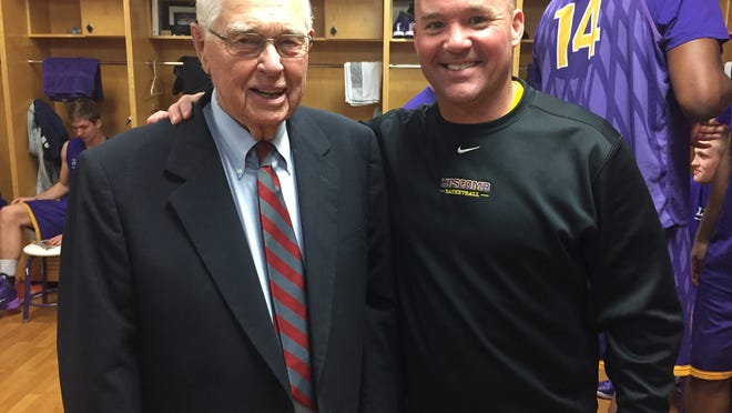 Schumann Brewer, 97, the oldest living Lipscomb basketball player, with current Bisons coach Casey Alexander.