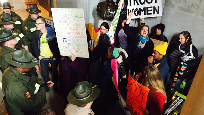 """""""Women's March"""" protesters made it outside House and Senate chambers on Tuesday at the state Capitol."""