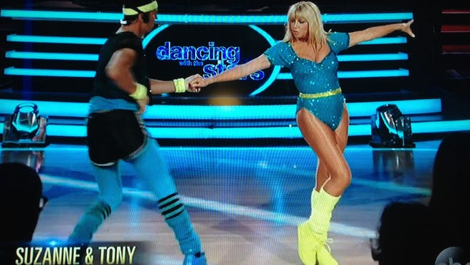 """A screenshot of Palm Springs resident Suzanne Somers as she appeared on """"Dancing With The Stars"""" Monday, where she danced the cha cha to Olivia Newton John's """"Physical"""" with partner Tony Dovolani."""