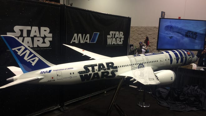 Japanese carrier All Nippon Airways (ANA) on April 16 unveiled plans to paint one of its Boeing 787-9 Dreamliners in a Star Wars livery that features the likeness of R2-D2. The R2-D2 livery will begin flying on one of the carrier's Dreamliners this fall, though ANA has not yet determined the routes of schedule for its Star Wars plane. This model was shown at the Star Wars Celebration event that began April 16 in Anaheim.