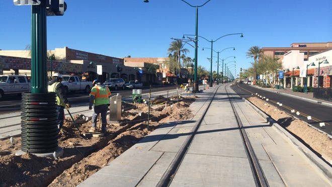 Light-rail construction is in progress on Main Street in downtown Mesa.