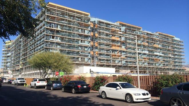 A Mark-Taylor apartment complex is under construction at Scottsdale Quarter.