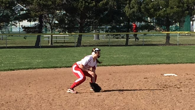 Port Clinton freshman Paige Steyer gets set defensively as the ball is pitched Friday. Steyer is joined by twin sister Lauren and older sister Taylor at the varsity level.