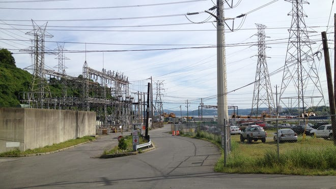 The Elm Avenue entrance to Tappan Zee Constructors' staging area in Stony Point on Sept. 3, 2014. Unattended CSX freight trains at times block access to the site, leaving first responders concerned they won't be able to reach the area in an emergency.