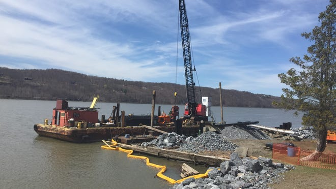 This file photo shows construction underway at Quiet Cove Park in Poughkeepsie. The project includes a reconstructed shoreline, observation platform, deep-water bulkhead and a kayak concession.