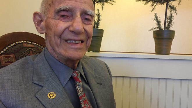 Oliver Aymar of Sparks on his 100th birthday on April 15, 2015.