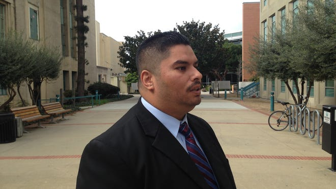 Jaime Andrade discusses his case in March outside the Monterey County courthouse in Salinas.