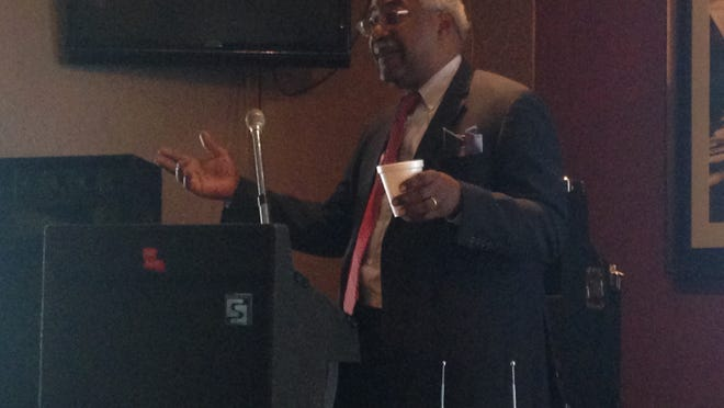 """Calvin Grigsby, the city's former financial adviser, is shown here at a Tuesday Morning Breakfast Group's meeting in May. At the meeting, Grigsby detailed his work for the city and called the council """"klansmen."""""""