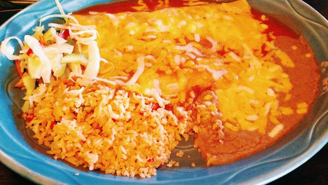 Cheese enchilada and bean burrito combination dish