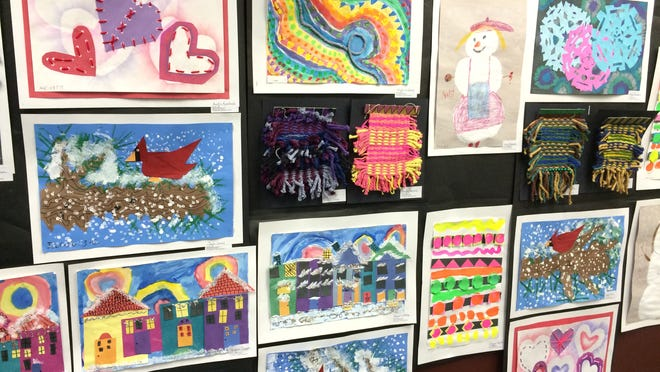 Artwork by students from Kennedy Elementary School is on display as part of Youth Art Month at the Portage County Public Library in Stevens Point.
