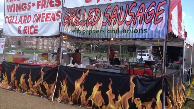 Serina's Mobil Food had plenty of food early, but sales didn't pick up until gametime Saturday.
