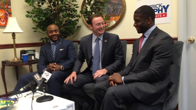 State Rep. Alan Williams, left, U.S. Rep. Patrick Murphy and Tallahassee Mayor Andrew Gillum on Thursday. Williams and Gillum both endorsed Murphy for U.S. Senate.