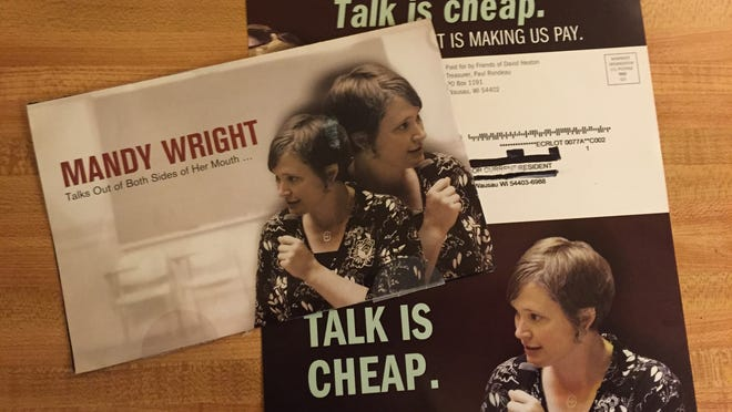 """A mailer from the Assembly campaign of Dave Heaton uses an image of Rep. Mandy Wright giving an emotional speech about having been sexually abuse as a child along with the words """"Talk is cheap."""""""