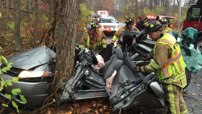 Brewster firefighters helped extricate a driver trapped in a car after a crash on Fields Lane. The driver was conscious during the rescue and was taken to Danbury Hospital in Connecticut.