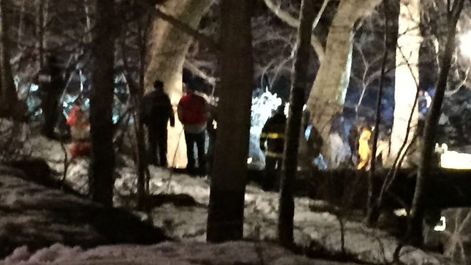 The scene near the Ramapo River on Sunday night when a Sloatsburg man allegedly jumped to the water to evade capture.