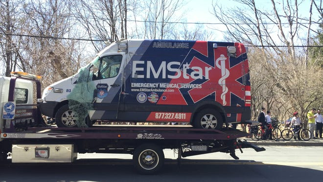 Ramapo: One person was hospitalized Sunday, April 12, after a two-vehicle crash involving an ambulance.