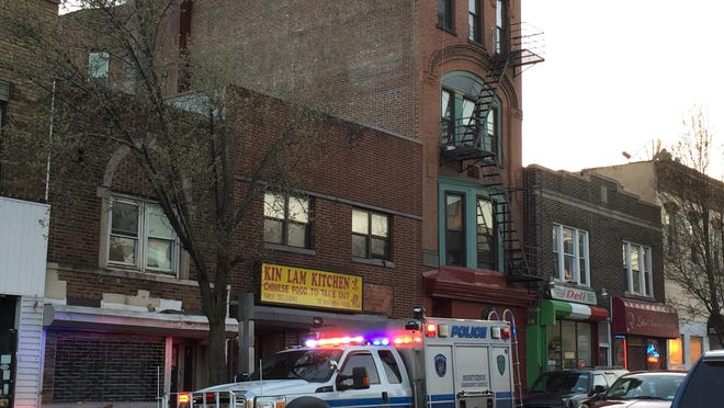 A woman was impaled after jumping off the roof of a four-story building in Mount Vernon on Saturday night.