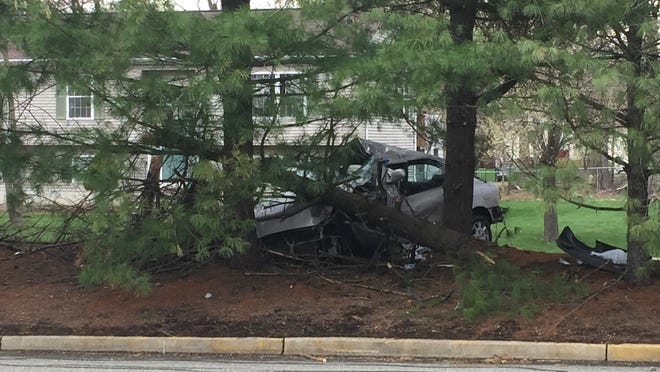 A car crashed into pine trees Wednesday on New Clarkstown Road. The driver suffered serious injuries.