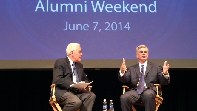 UD President Patrick Harker (right) answers a question from Ralph Begleiter during a discussion Saturday.