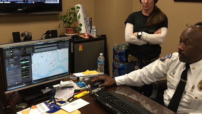 Wilmington Police Chief Bobby Cummings explains ShotSpotter as Sgt. Andrea Janvier looks on.