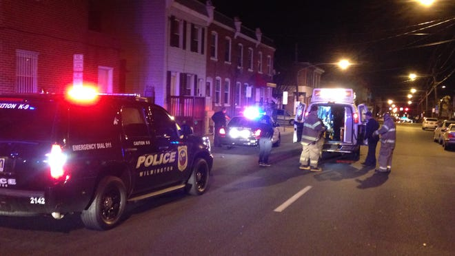 Wilmington Police and New Castle County paramedics respond to a shooting at Lancaster Avenue and Delamore Place.