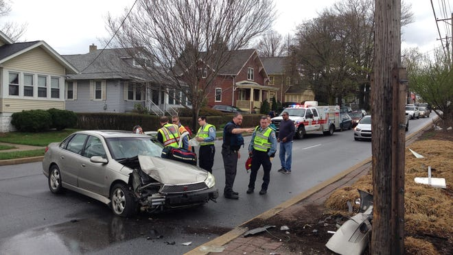 The driver was hospitalized Tuesday afternoon after running into a utility pole on the Kirkwood Highway (Del. 2) at Brookside Avenue in this crash just west of Elsmere.