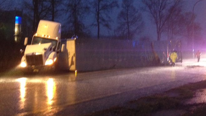 An overturned tractor-trailer overturned Monday morning on I-95 southbound closing the on ramp from Churchmans Rd.