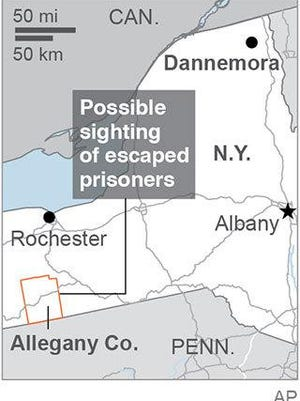 Allegany County, N.Y., where two escaped prisoners may have been seen