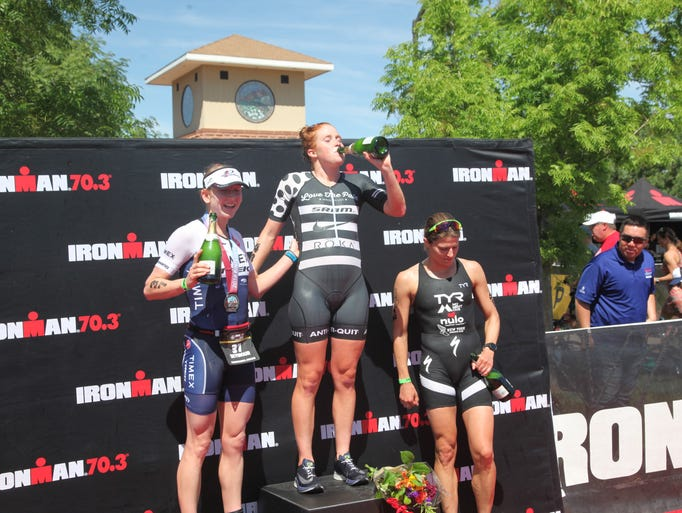 The winners of the Ironman 70.3 St. George celebrate
