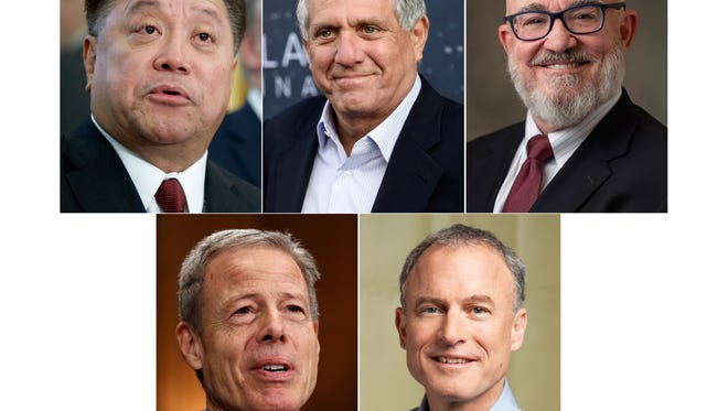 This photo combination shows the five highest-paid CEOs at big U.S. companies for 2017, as calculated by The Associated Press and Equilar, an executive data firm. Top from left: Hock E. Tan, Broadcom, $103.2 million; Leslie Moonves, CBS, $68.4 million; W. Nicholas Howley, TransDigm, $61 million. Bottom, from left, Jeffrey Bewkes, Time Warner, $49 million; and Stephen Kaufer, TripAdvisor, $43.2 million.