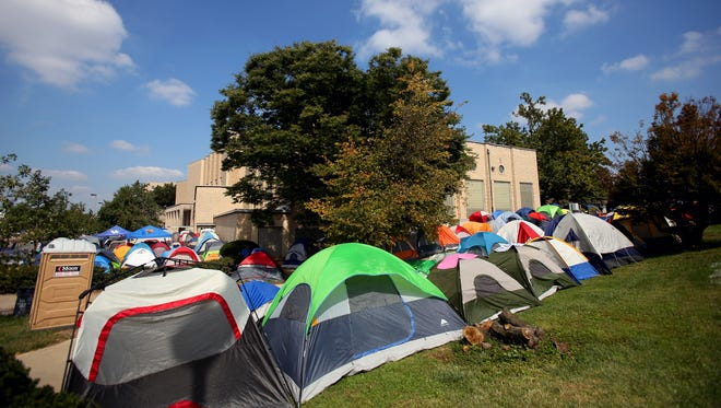 Tents surround Memorial Coliseum as fans of Kentucky basketball camp out for tickets to Big Blue Madness.  Sept. 18, 2014