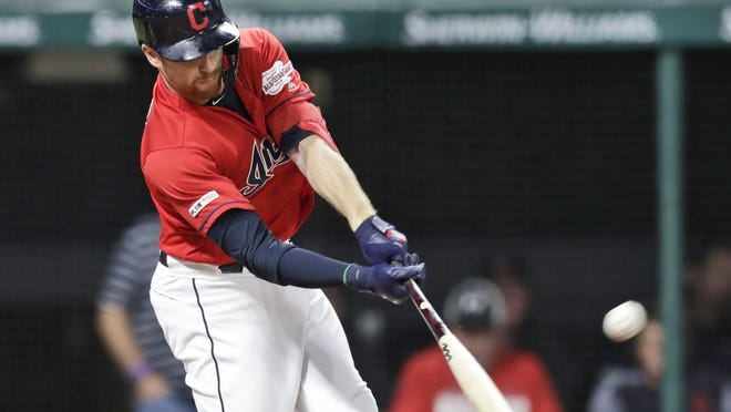 The Indians' Jordan Luplow hits a two-run triple during the third inning in a game against the Detroit Tigers last season.
