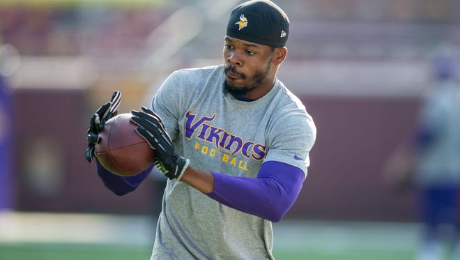 Vikings wide receiver Jerome Simpson on Aug. 16.