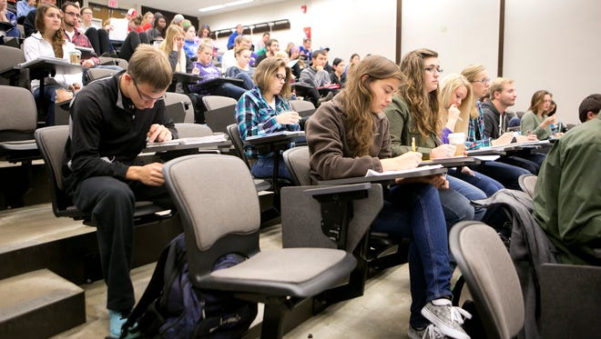 Students listen to a human physiology lecture in the Collins Classroom Center at University of Wisconsin-Stevens Point on Oct. 2, 2015.