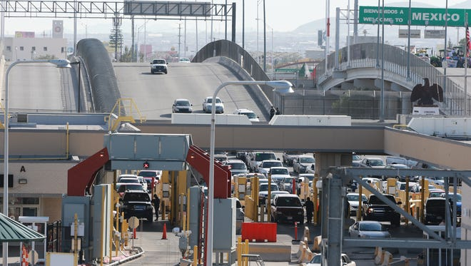 A few cars head north into the U.S. at the Bridge of the Americas port of entry.