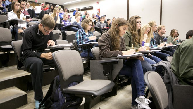 Students listen to a human physiology lecture in the Collins Classroom Center at University of Wisconsin-Stevens Point on Oct. 2.