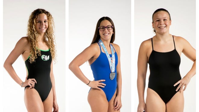 The News-Press All-Area Girls Swimmer of the Year finalists are (from left) Olivia McMurray, Nicole Rodriguez and Mikayla Puckett.