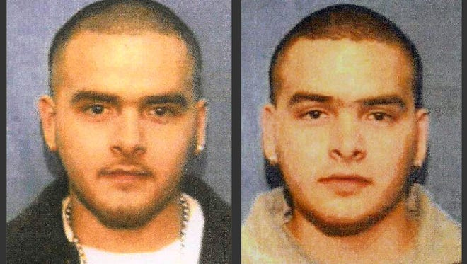 This undated photo from a wanted poster released by the U.S. Marshals Service shows Pedro Flores, left, and his twin brother, Margarito Flores.