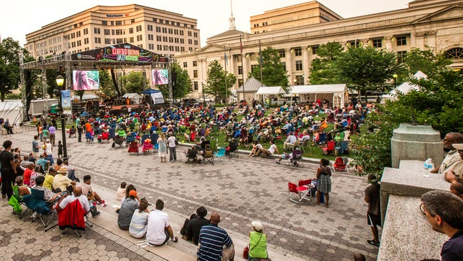 Jazz fans watch as Maya Bellardo performs on at the Clifford Brown Jazz Festival at Rodney Square in Wilmington on Tuesday night.
