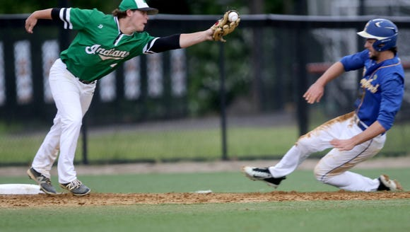Austin Piorkowski, shown gloving the ball in a 2017 file photo, had a double and an RBI to help Pascack Valley win its 2018 Bergen County baseball tournament opener.