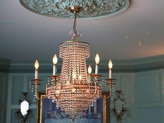 Dining room chandelier.