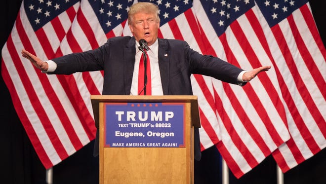 The expected Republican presidential nominee Donald Trump addresses the audience in Eugene, Oregon in May.