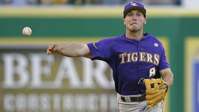 LSU shortstop Alex Bregman (8) was selected with the ? pick of the MLB draft Monday night by the ?.