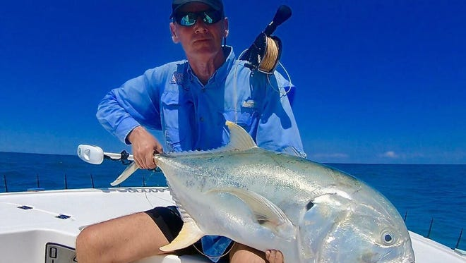 Robert Rainer of Frankfurt, Germany caught and released this huge jack crevalle Sunday on a fly rod using a popper while fishing with Capt. Michael Mauri of Mauri Flyfishing Adventures in Stuart.
